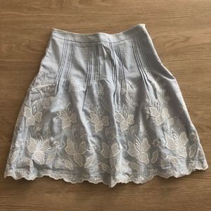 Embroidered Light Blue A-Line Skirt